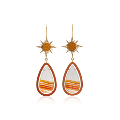 Sunbeam Enamel & White Diamond Earrings