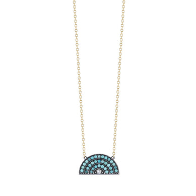 Turquoise & Diamond Blackened Rainbow Necklace