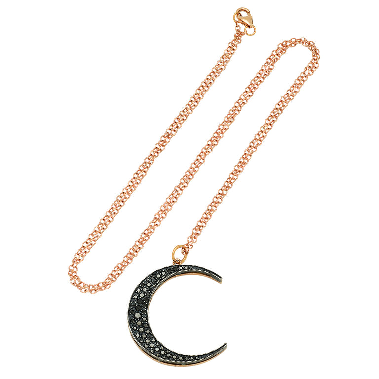 Large Black Diamond Luna Necklace
