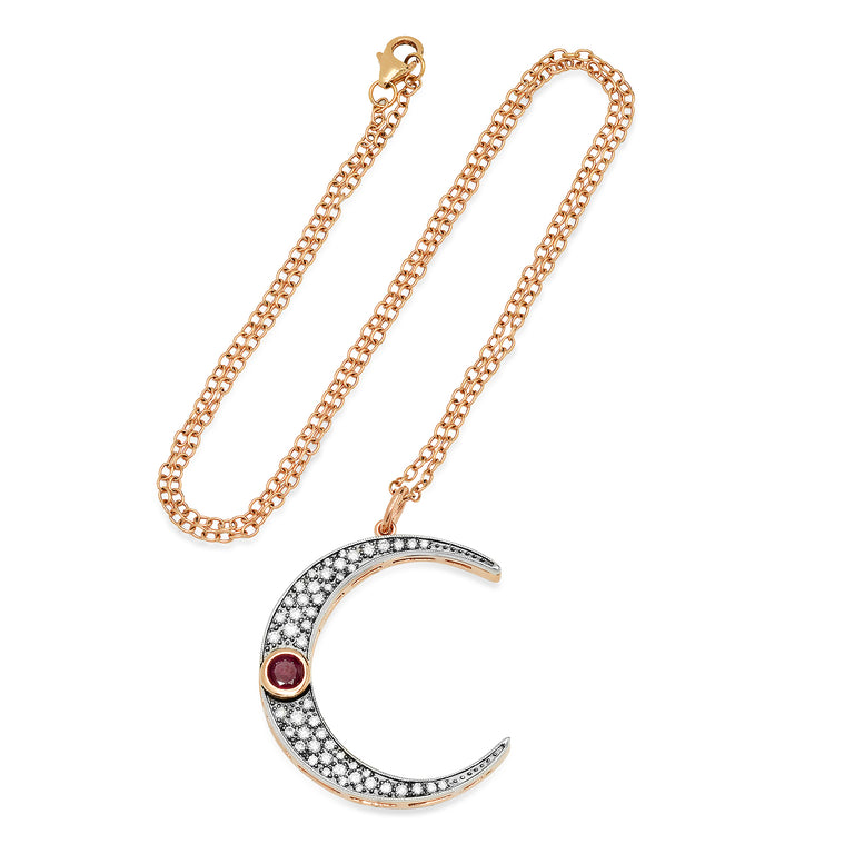 Large Diamond & Ruby Luna Necklace