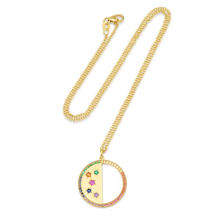 Large First Quarter/Last Quarter Half Moon Phase Necklace