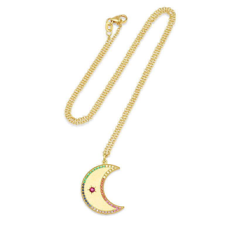 LARGE MULTI STONE CRESCENT MOON PHASE