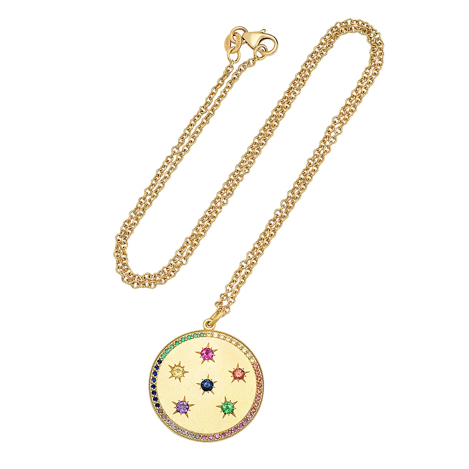 Large Multi Color New Moon/Full Moon Phase Necklace