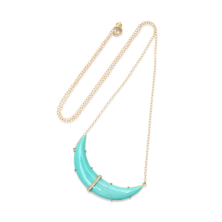 Crescent Moon Sleeping Beauty Turquoise Necklace