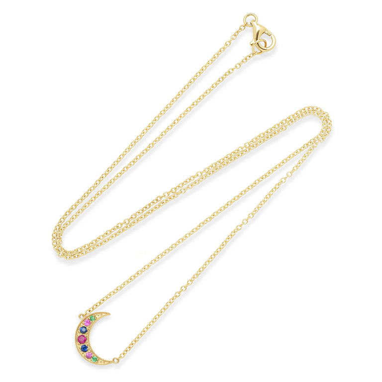 Crescent Moon Multi Color Necklace