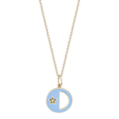 Enamel First Quarter/Last Quarter Moon Phase with Diamond Star Necklace