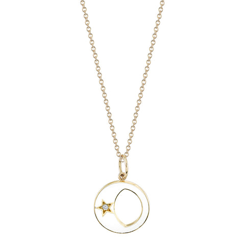 Enamel Waxing/Waning Crescent Moon Phase with Diamond Star Necklace