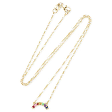 Single Row Multi Sapphire Rainbow Necklace