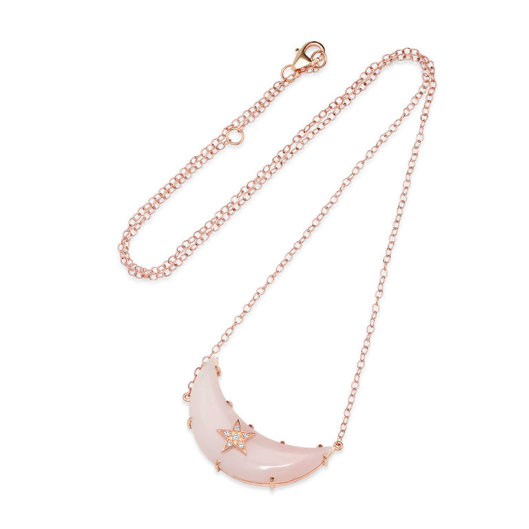 Carved Moon Pink Opal Necklace