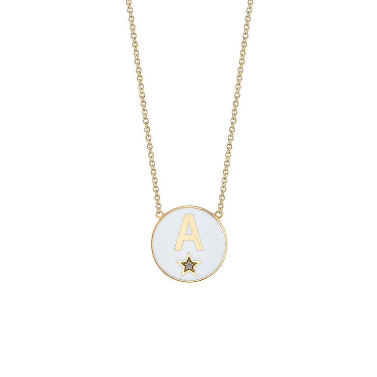 Diamond Star Enamel Initial Necklace