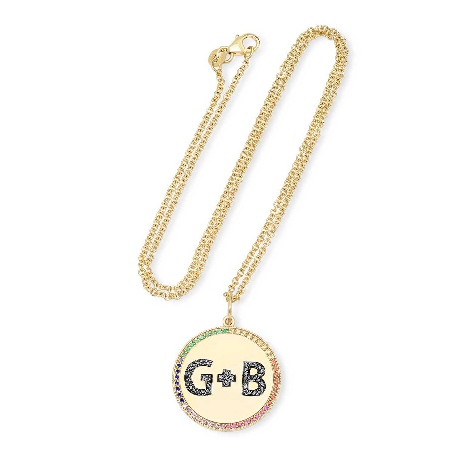 Custom Color Initials Pendant