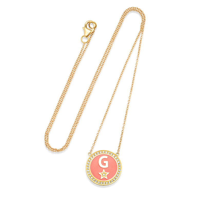 Diamond Enamel Initial Necklace