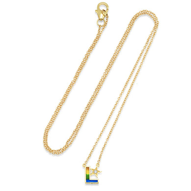 Rainbow Enamel Initial Necklace