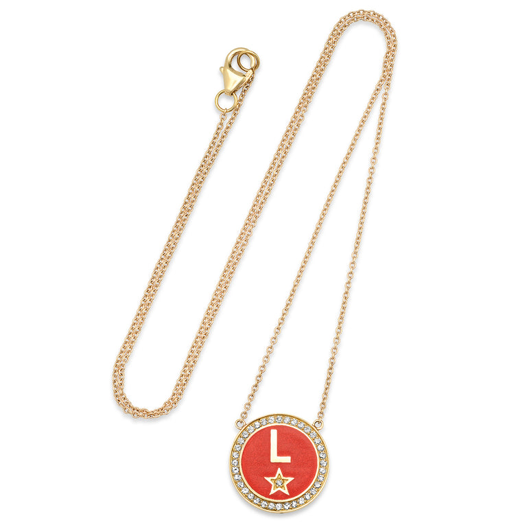 DIAMOND RED ENAMEL INITIAL NECKLACE