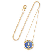 DIAMOND LAPIS ENAMEL INITIAL NECKLACE