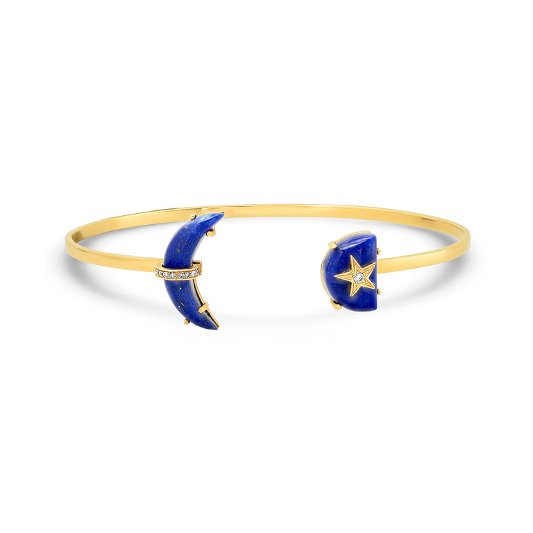 Crescent Rainbow Lapis Bangle