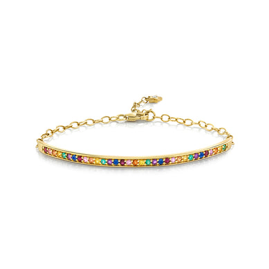 Single Row Multi Sapphire Rainbow Bracelet