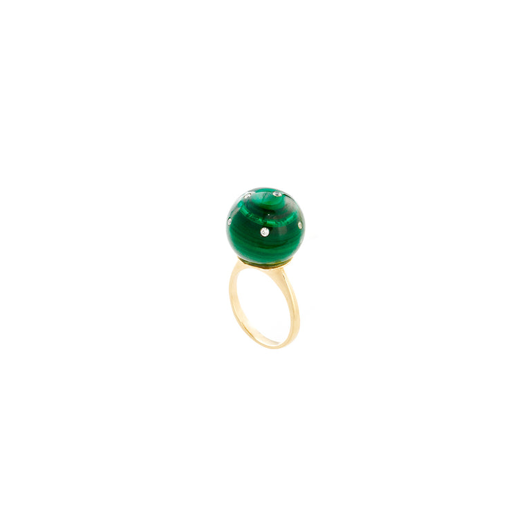 Malachite Globe Ring with Diamonds