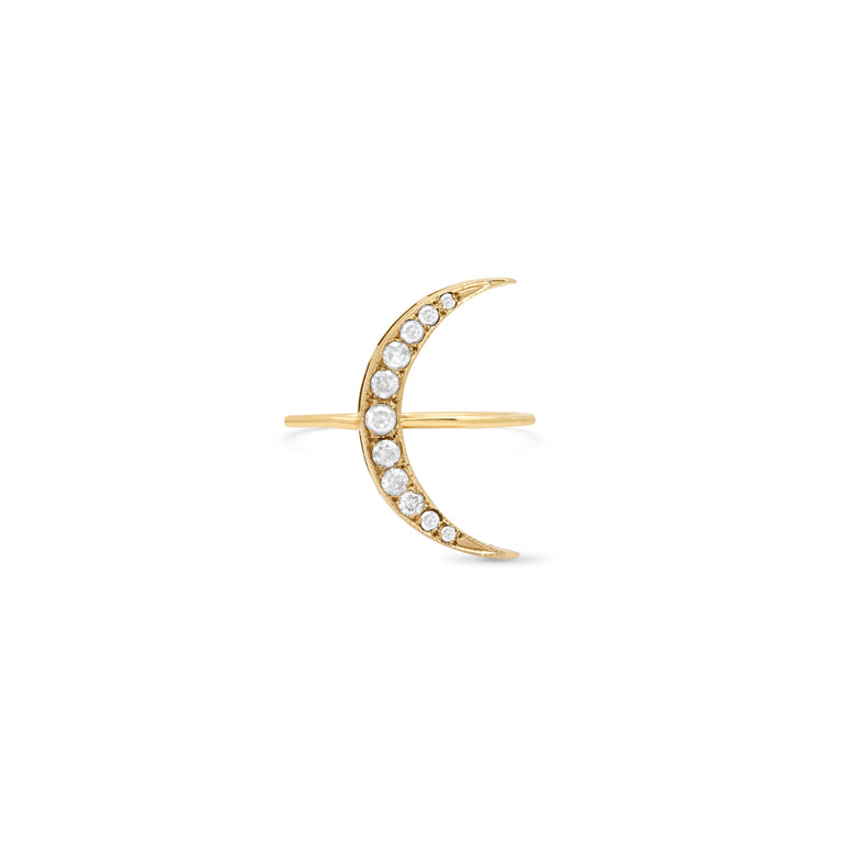 Medium Ice Diamond Luna Ring