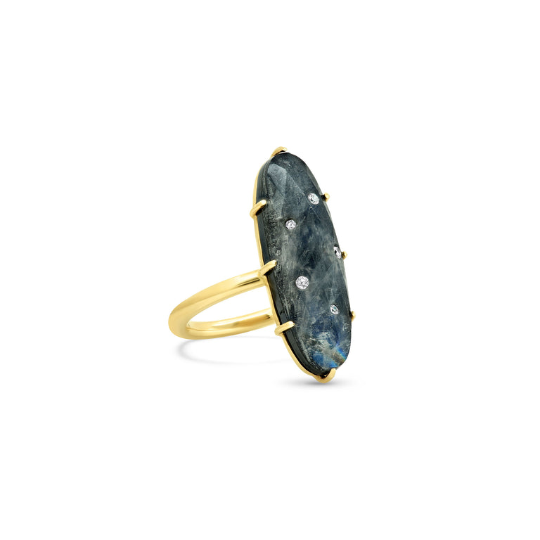 Oblong Rainbow Moonstone Hematite Ring