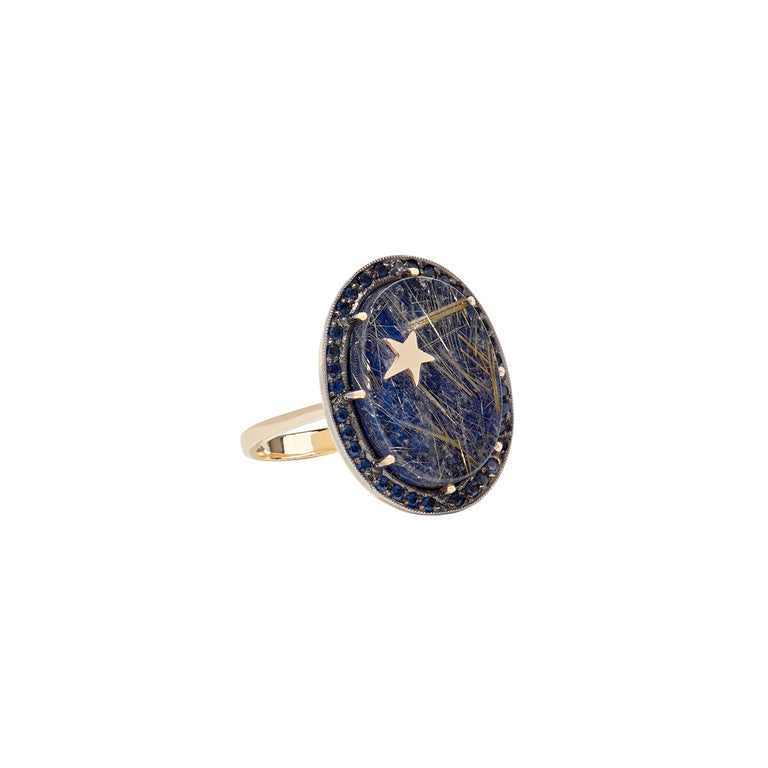 Rutilated Lapis Zenith Ring