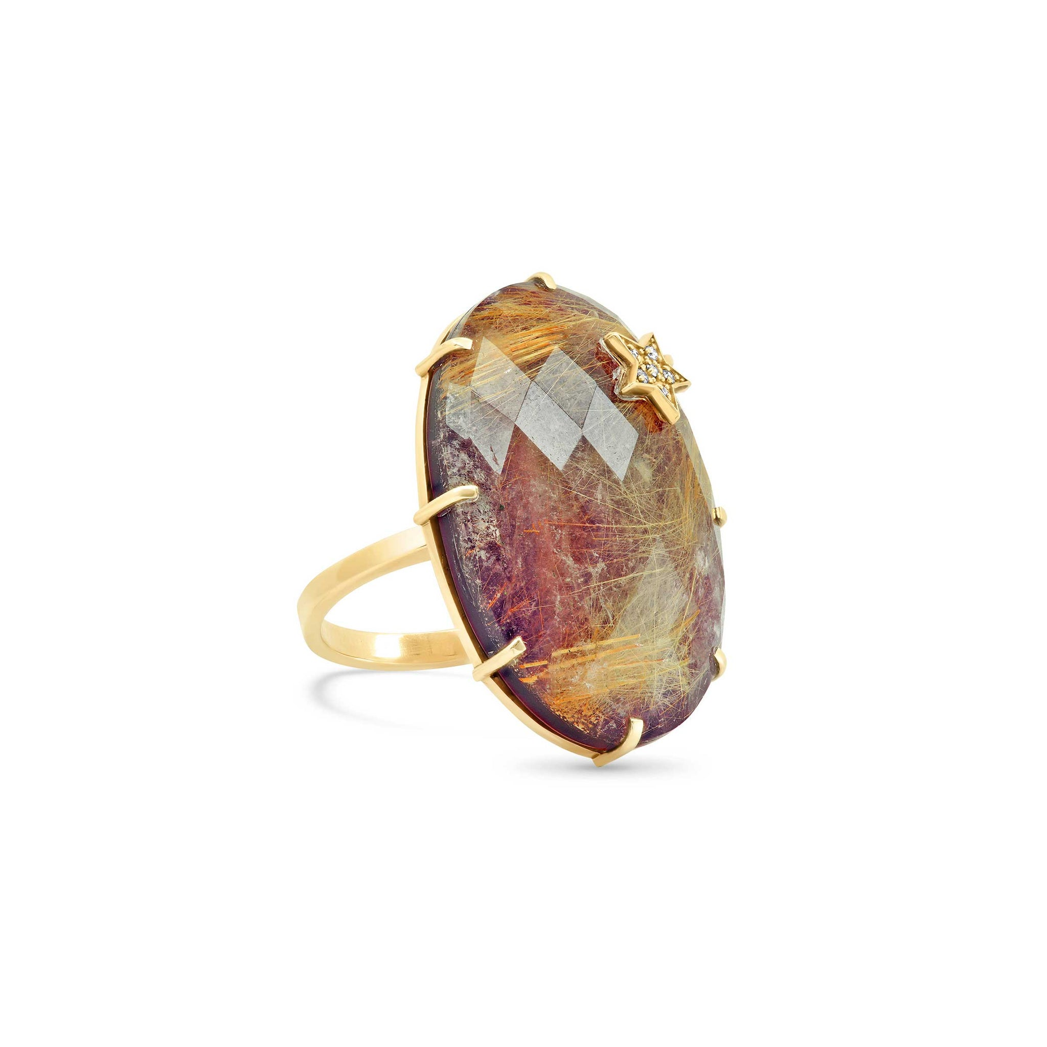 Amethyst Rutilated Quartz Oval Ring
