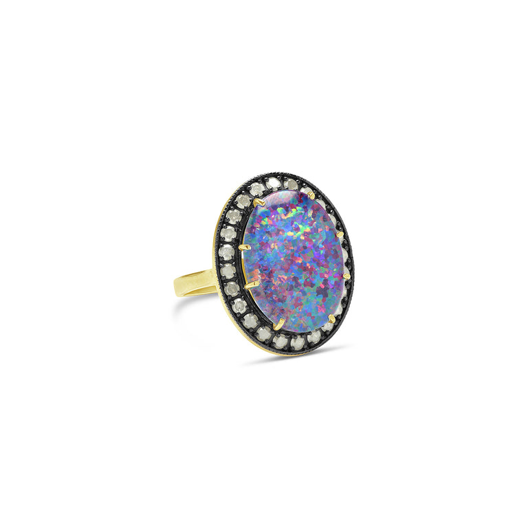 Kat Australian Opal Ice Diamond Ring