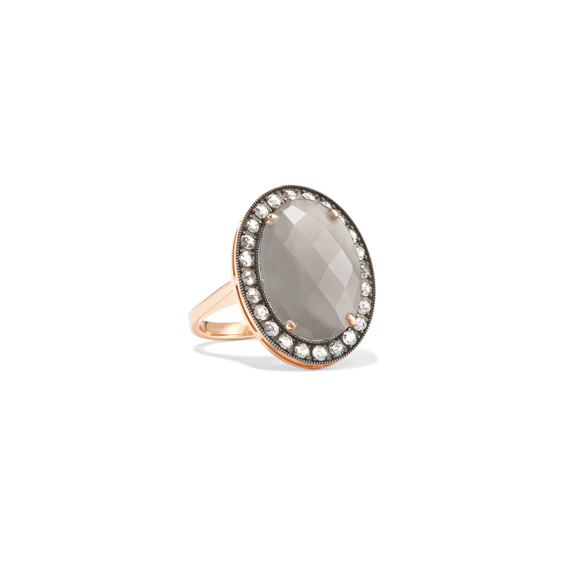 Oval Grey Moonstone Diamond Ring