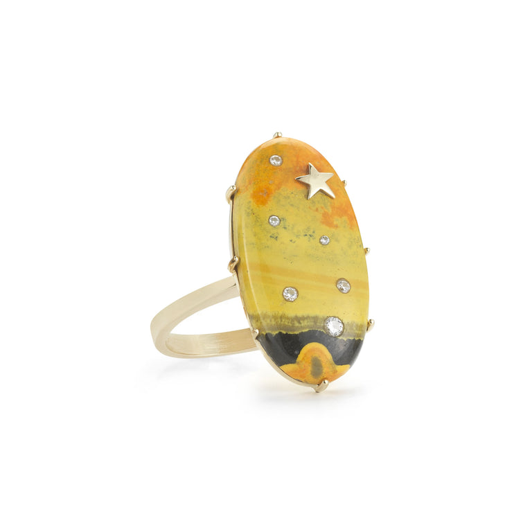 Manganese Sulfide & Diamond Oval Ring