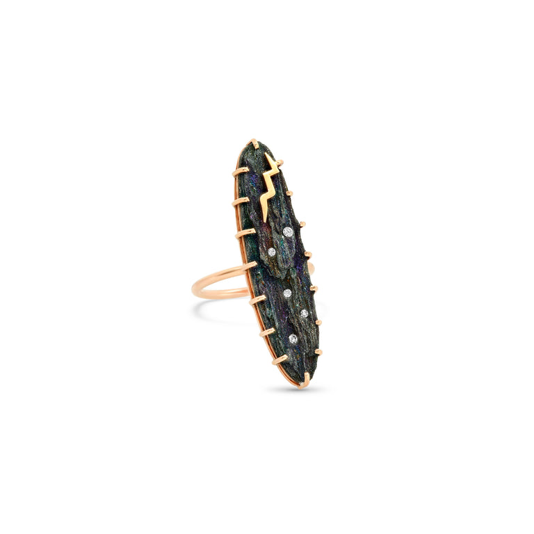 Rainbow Hematite Bolt Ring
