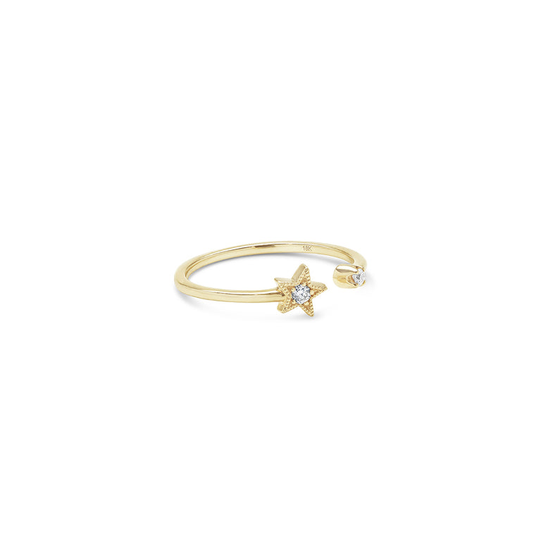 White Diamond Star Ring