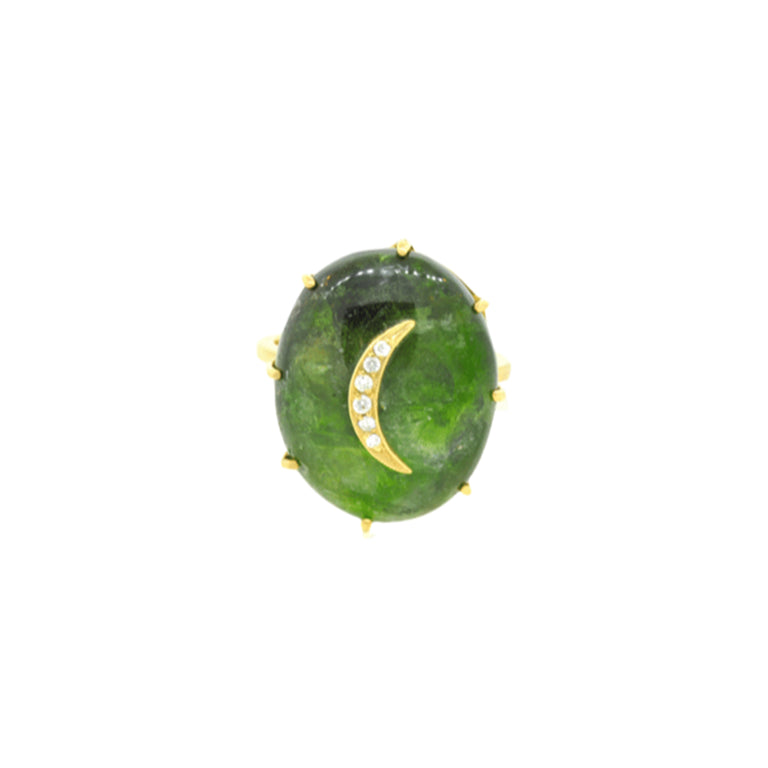Oval Tourmaline Crescent Ring