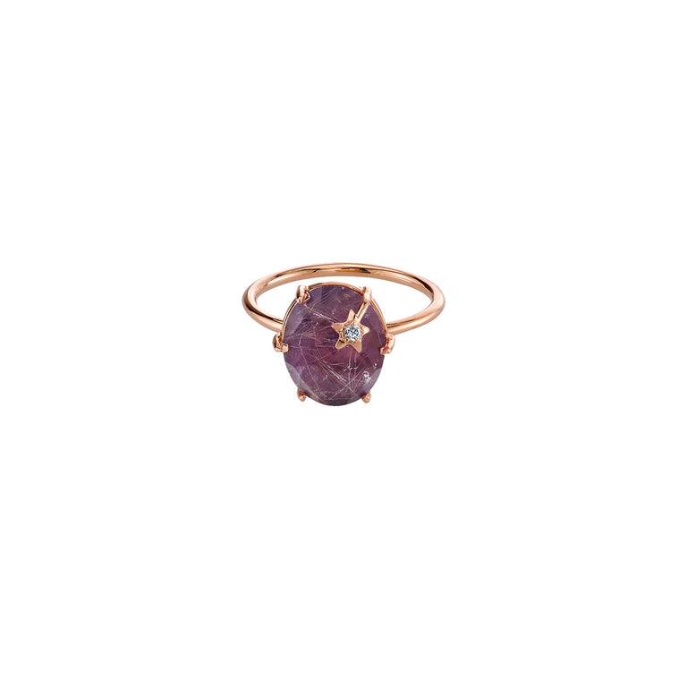 Mini Galaxy Rulitilated Amethyst Ring