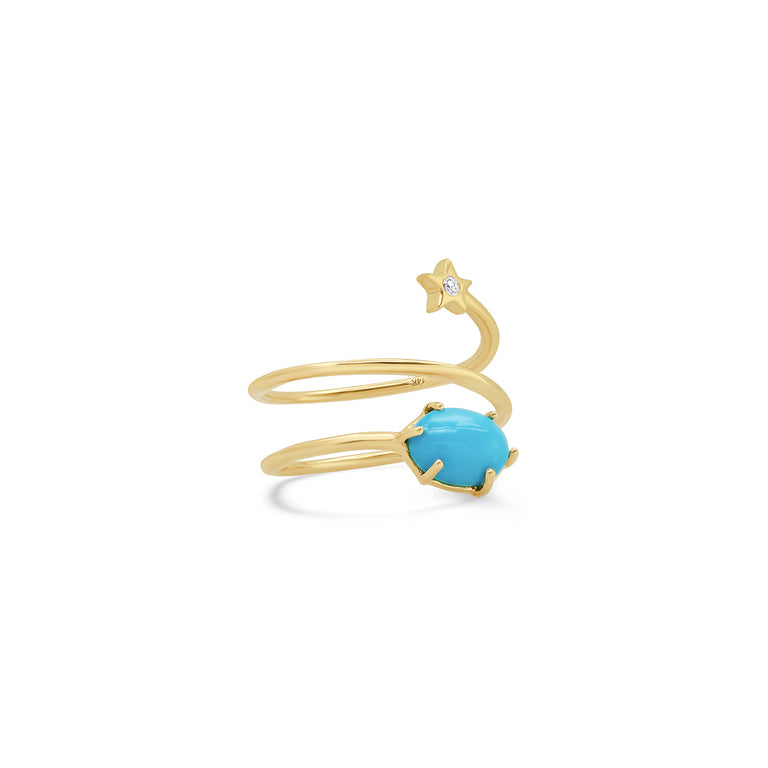 Mini Cosmo Turquoise Coil Ring