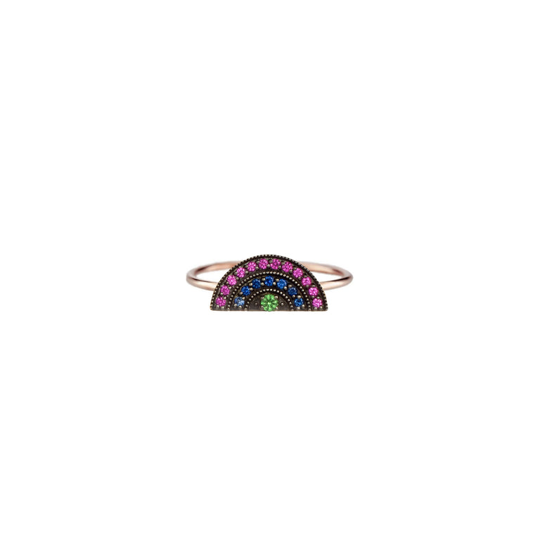 Mini Multi Sapphire Blackened Rainbow Ring