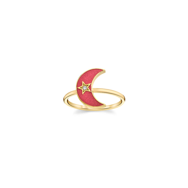 Enamel Crescent Ring