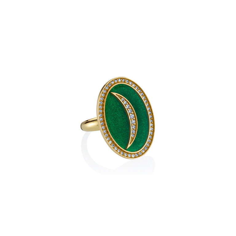 Enamel Crescent Sliver Oval Ring