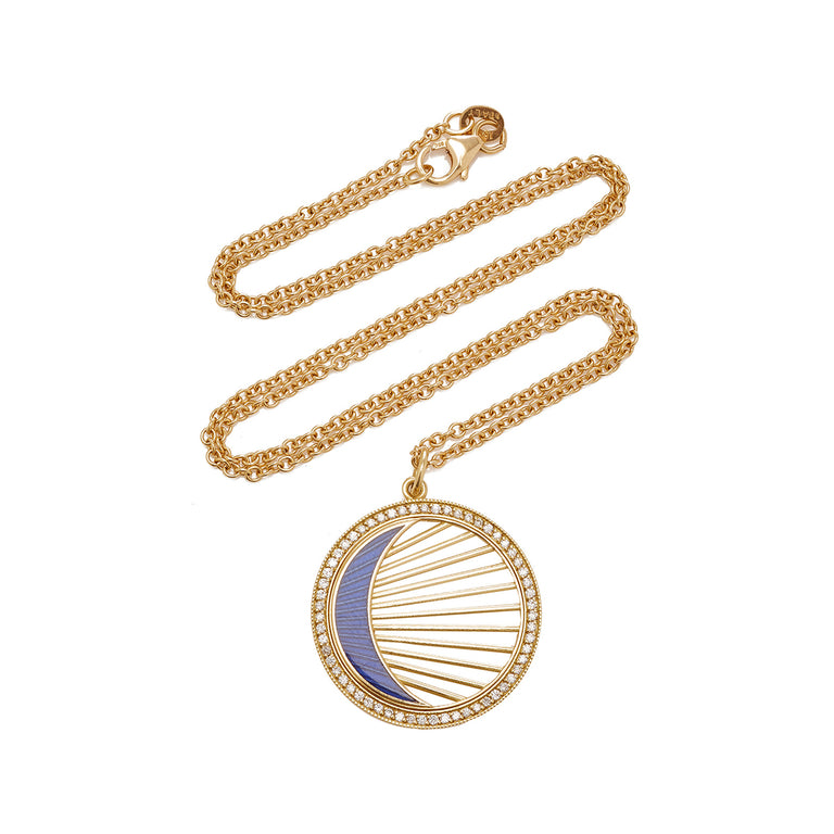 Crescent Enamel with Gold Rays Pendant