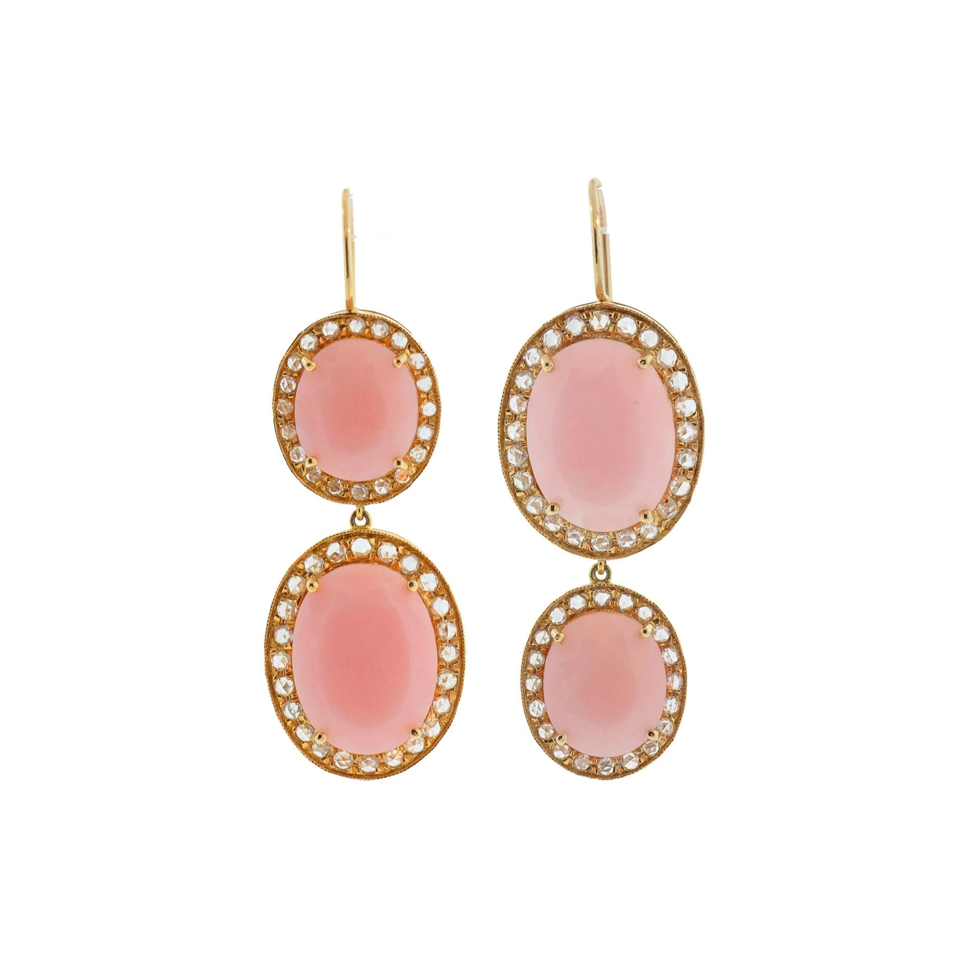 Double Kat Pink Opal & Diamond Earrings