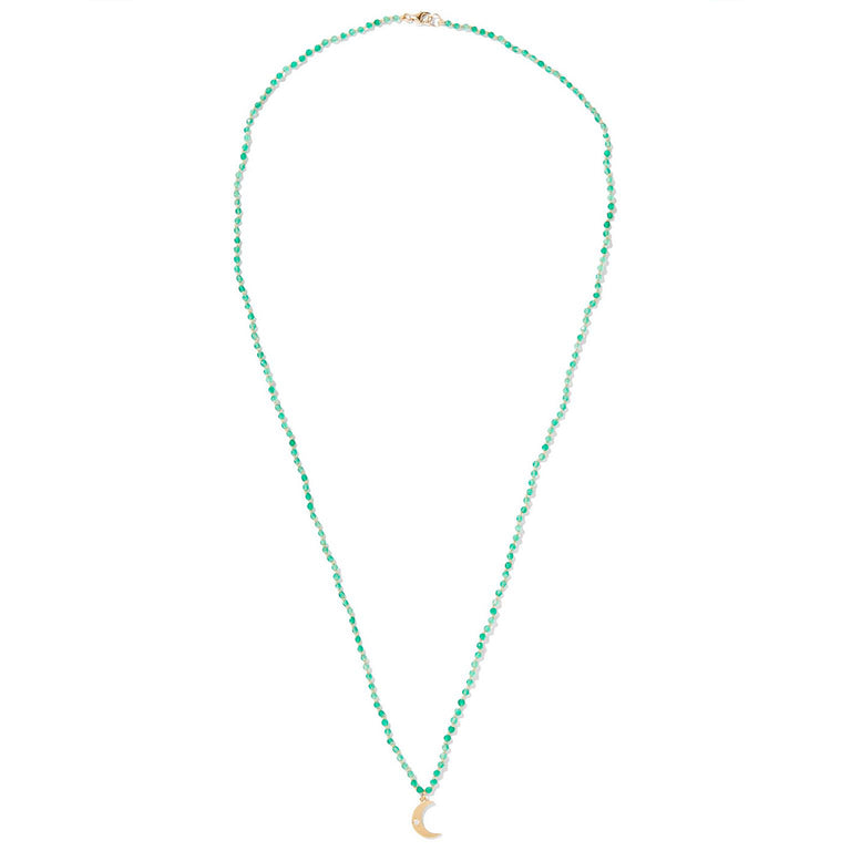 Green Onyx Beaded Crescent Moon Necklace