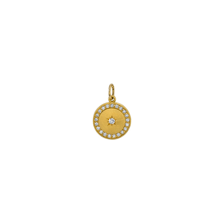 Small Full/New Moon White Diamond Moon Phase Charm
