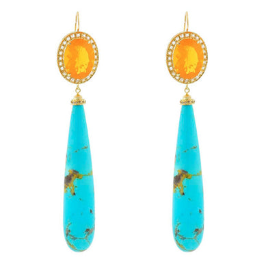 Sleeping Beauty Turquoise with Fire Opal Earrings