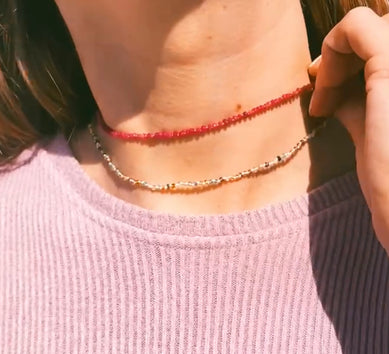 Faceted Rondelle Magenta Quartz Choker with Clementine Thread