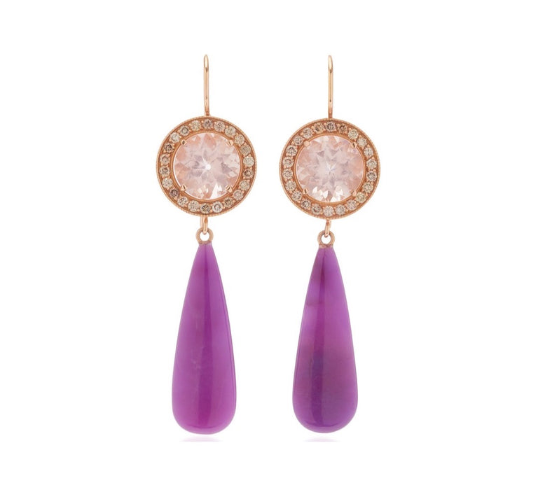 Morganite with Champagne Diamonds and Sugilite Drops Earrings