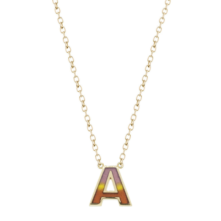 Pastel Enamel Initial Necklace