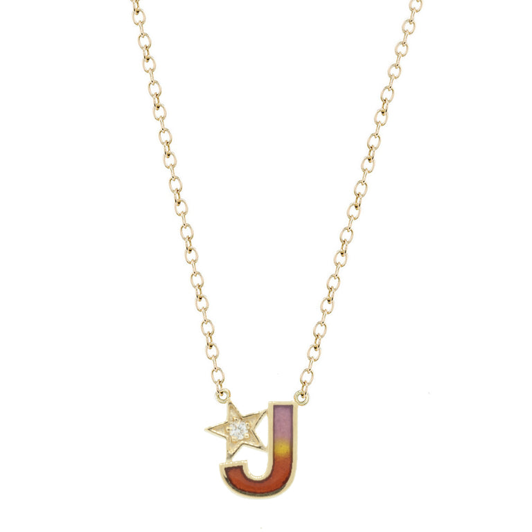Multi Color Enamel Initial Necklace