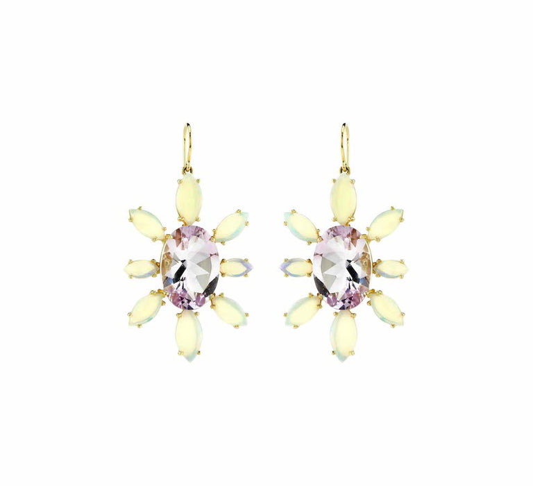 Oval Rose de France Opal Earrings