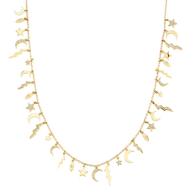 Multi Element White Diamond & Gold Necklace