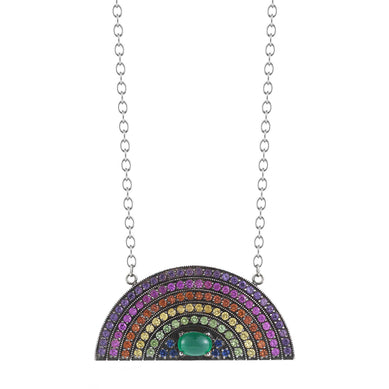 Large Multi Sapphire Blackened Rainbow Necklace