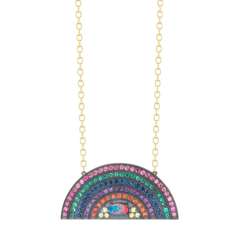 Large Psychedelic Rainbow Necklace